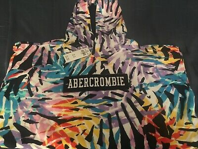 NWT Abercrombie and Fitch Kids Multi-Color Palm Print Pullover Hoodie Boys 15/16