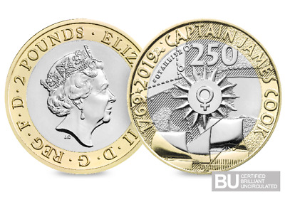2019 Uk Captain Cook's Voyage Certified Bu £2 Two Pound Coin Bunc