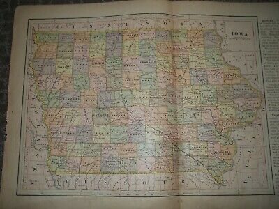 1901 Color Map of Iowa From Book Counties, Cities Rivers