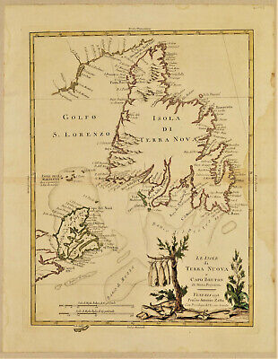 1778 Genuine Antique map Newfoundland, Cape Breton, St Lawrence Gulf. A. Zatta