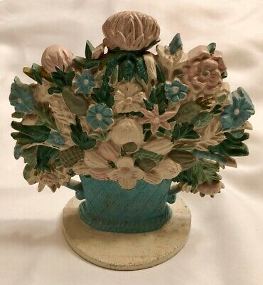Antique Cast Iron Door Stop Flowers Floral Bouquet Basket Doorstop