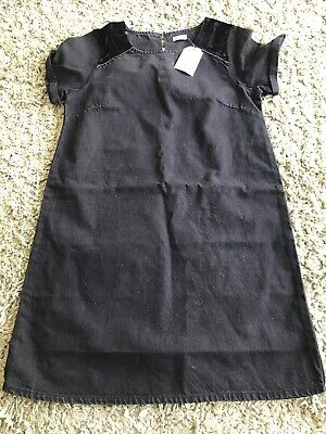 Bnwt Girls Next Black Denim Dress Size 12 Years Rrp £13