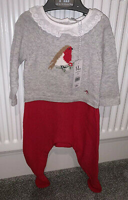 BNWT Mothercare Girls Christmas Outfit 1-3 Mths Red/grey