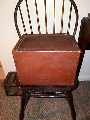 Early Painted Wooden Slide Top Box /Candle Box c. 19th Century Country Americana
