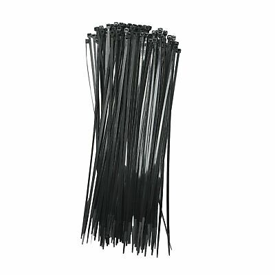 New Black 200 Pcs. 12 Inch Zip Ties Nylon 40 Lbs Uv Weather Resistant Wire Cable