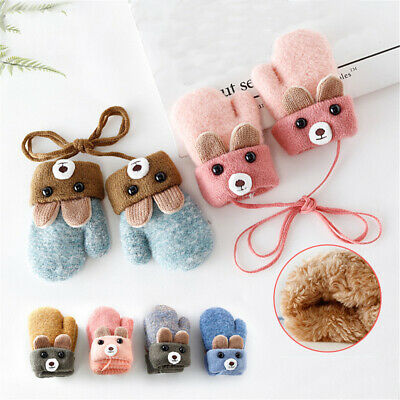 0-3 Years Old Cute Baby Gloves Winter Knitted Wool Infants Mittens with Ropes