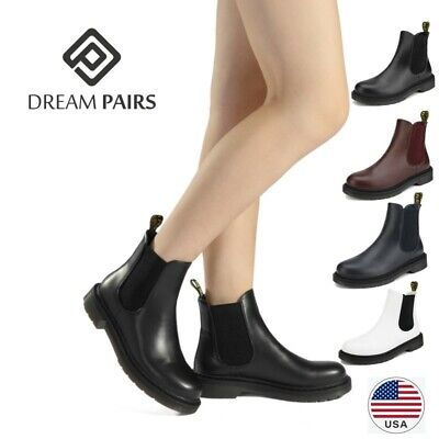 DREAM PAIRS Women Flat Chelsea Ankle Boots Ladies Casual Pull-on Low Heel boots
