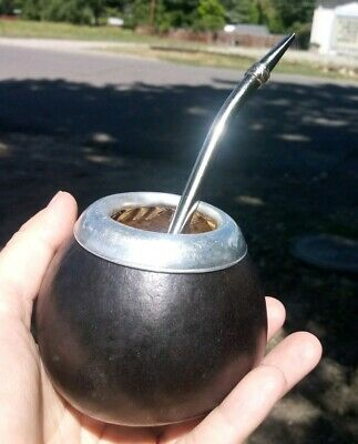 Mate Gourd & Bombilla Kit Set (Cup And Straw) To Drink Yerba Mate (Ferrule Ring)