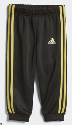 Adidas Shiny Tracksuit Bottoms Black/Gold Metallic Girls Size UK 3-4 Years*REF99