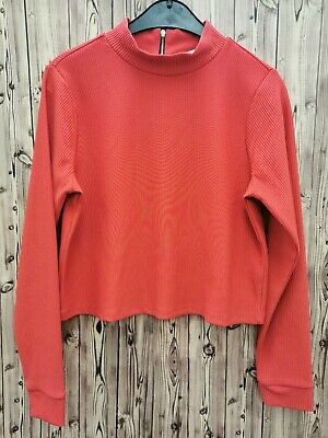 Marks&Spencer Limited E Ladies Crop Top Long Sleeve High Neck red Size 12 new