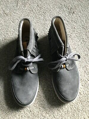Clarks Girls Shoes Boots Junior Size 4 F Grey Suede New