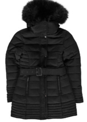 Firetrap Bubble Jacket Black Hooded With belt Girls Size UK 9-10 Years *REF102