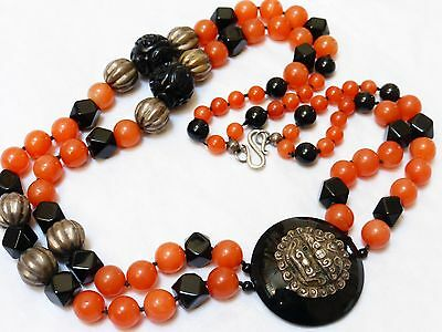 Chinese Antique Carnelian, Jet Double Stand Beads Sterling Silver Necklace