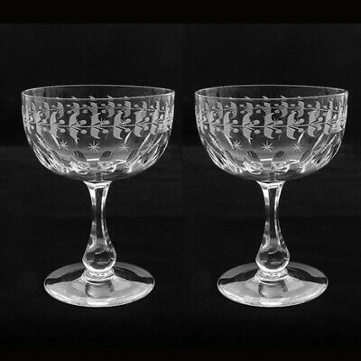 Pair Victorian Hand Engraved Champagne Glass Coupes, Ca 1880