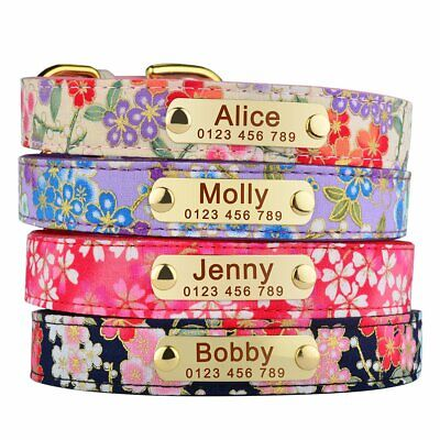 Flower Personalised Leather Dog Collar Engraved ID Tag Name Cat Pet Puppy Collar