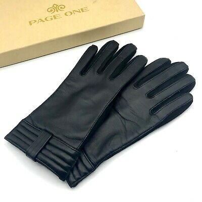 PAGE ONE Women's Genuine Black Leather Driving Gloves in Medium Size