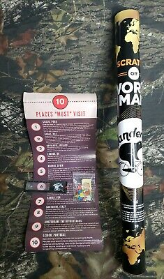 Wander Cub Scratch Off World Deluxe Gold Foil Tools Pin Large H