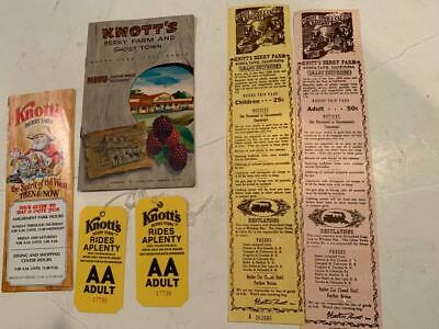 1962 Knotts Berry Farm Souvenir Lot Entry and Train Tickets Brochure Dinner menu