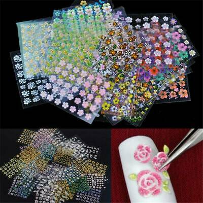 50 Sheets 3D Flower Tips Nail Art Transfer Stickers Decals Manicure Decoration~