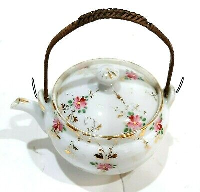 19Th C Antique Chinese Export Hand Painted Miniature Individual Porcelain Teapot