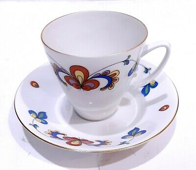 Porsgrund Farmers Rose Floral Flowers Porcelain Cup And Saucer