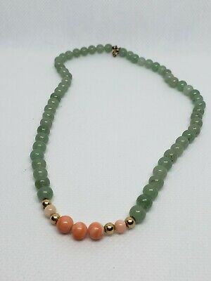 Green Jade and salmon Coral Beads extra Heavy  Necklace. Pre-owned.
