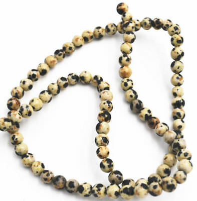 """Natural 4mm black white spots gemstone round beads loose beads 15"""""""