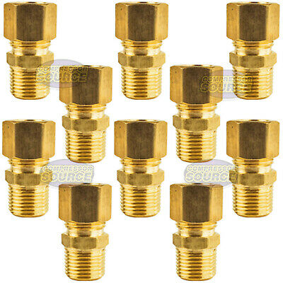 """10 Pack 1/2"""" x 3/8"""" Male NPT Connector Brass Compression Fitting for 1/2 OD Tube"""