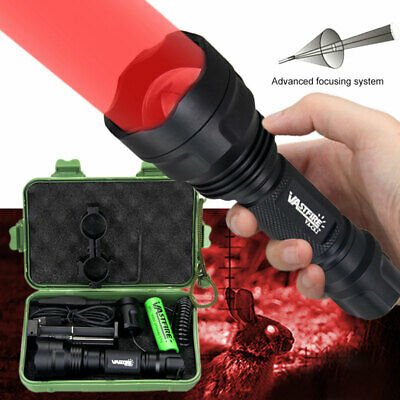 Tactical Red Zoomable LED Flashlight Lamp Hunting Gun Torch w/Scope Sight Mount