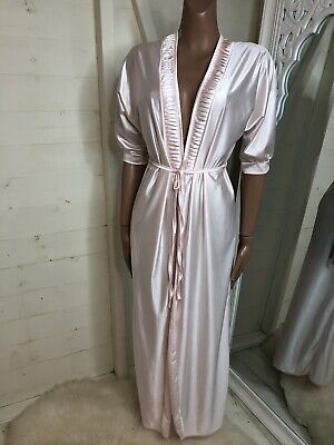 BHS 1970's Vintage Pink Satin Long Dressing Gown Housecoat 10/12