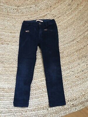 Zara Girls Soft Cord Navy Slim Trousers Age 6 Years Execllent Condition
