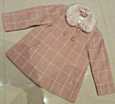 New Girls Ex Next Pink Fur Wool Lined Smart Winter Coat Jacket Age 1-5 Years