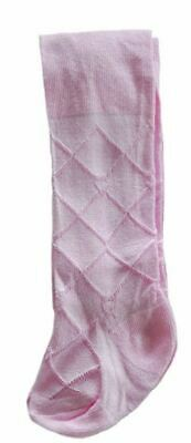 Baby Girls Pink Patterned Tights Diamond Wedding Christening 0-24 Months
