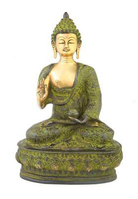 """Antique Buddha Statue Blessing Chinese Sitting Figurine Tibet Home Decor 14"""""""