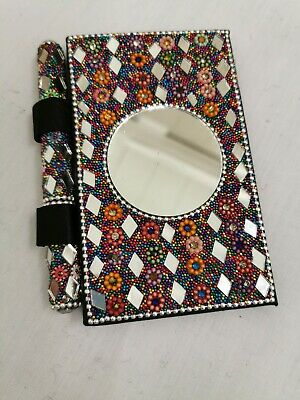 Beautiful Handmade Multi Colour Diary And Pen  Mirror Design And Hand Carved
