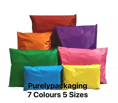 Coloured Mailing Bags Strong Mail Post Polythene Plastic Self Seal All Sizes