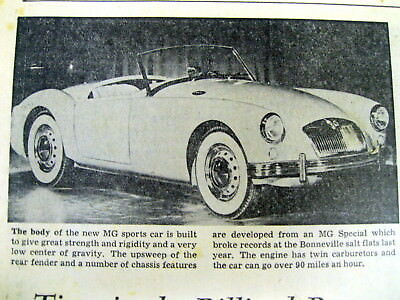 1955 newspaper 1st public photo of the newly designed Streamlined MGA automobile