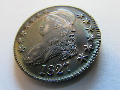1827 Capped Bust Half Dollar Fifty Cent US Silver Coin Gorgeous Color Toning 50c