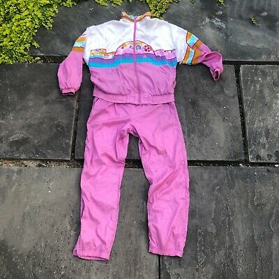 Vintage Le Coq Sportif Womens Sm. Pink Graphic Tracksuit Jacket Satin Pants Set