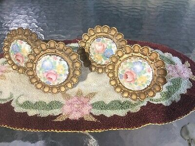 Antique Vintage Set of 4 Curtain Tie Backs Cast Iron with Hand Painted Porcelain