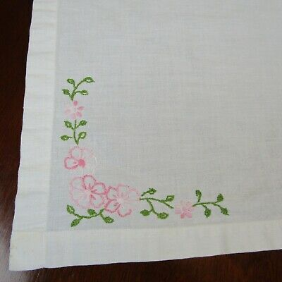 Vintage Hand Embroidered Pink Flowers Tablecloth Table Topper 35 x 37