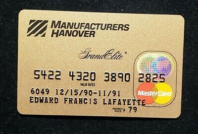 Manufactures Hanover Gold Grand Elite MasterCard exp 1991♡Free Shipping♡cc503
