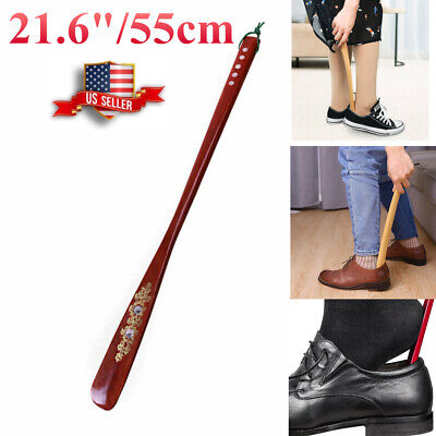 Professional Extra Long Shoe Horn Handle Shoehorn AID Stick Wooden for Unisex