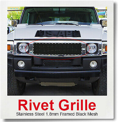 Fits 2003-2007 Hummer H2 Stainless Steel Mesh Grille Combo