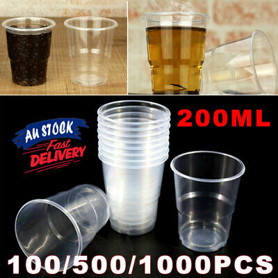 200ml White Plastic Cups  Clear Drinking BULK Party Disposable Reusable ACB#