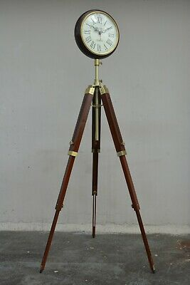 Wooden Floor Clock with Antique Finish Stand Vintage Style Round Glass Clock
