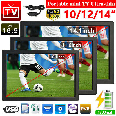 Freeview 1080P HDMI HD 10-14'' Portable TV Digital Television Player PVR/USB 12V