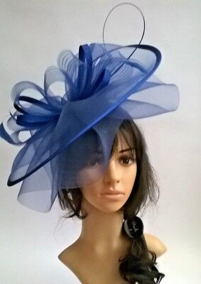 Royal Blue Hatinator crin & satin layered large statement,Wedding,races ,new
