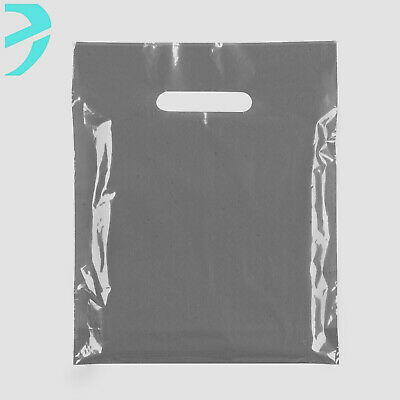 """200 Black/Grey Plastic Shopping Carrier Bags Strong Patch Handle Medium 16x18+3"""""""