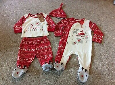 TU BNWT Baby First Christmas Set/ Bundle Up To 1mth & Up To 3 Mths  Sleepsuit